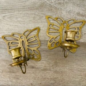 Vintage Brass Butterfly Wall Sconce